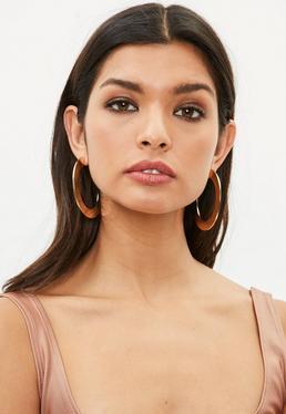 Gold Thick Open Hoop Earrings