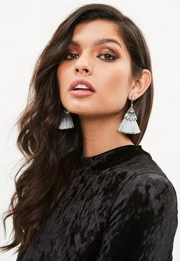Silver Crystal Tassel Earrings