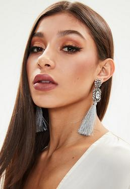Grey Rhinestones Tassel Earrings