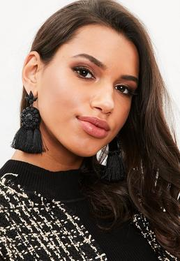 Black Large Tassel Earrings