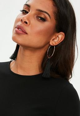 Gold Hoop Black Drop Tassel Earrings