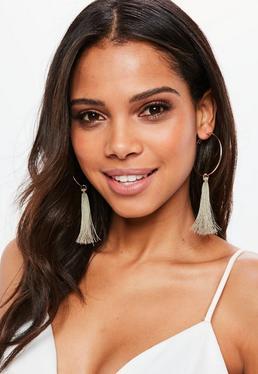 Rose Gold Hoop Tassel Earrings