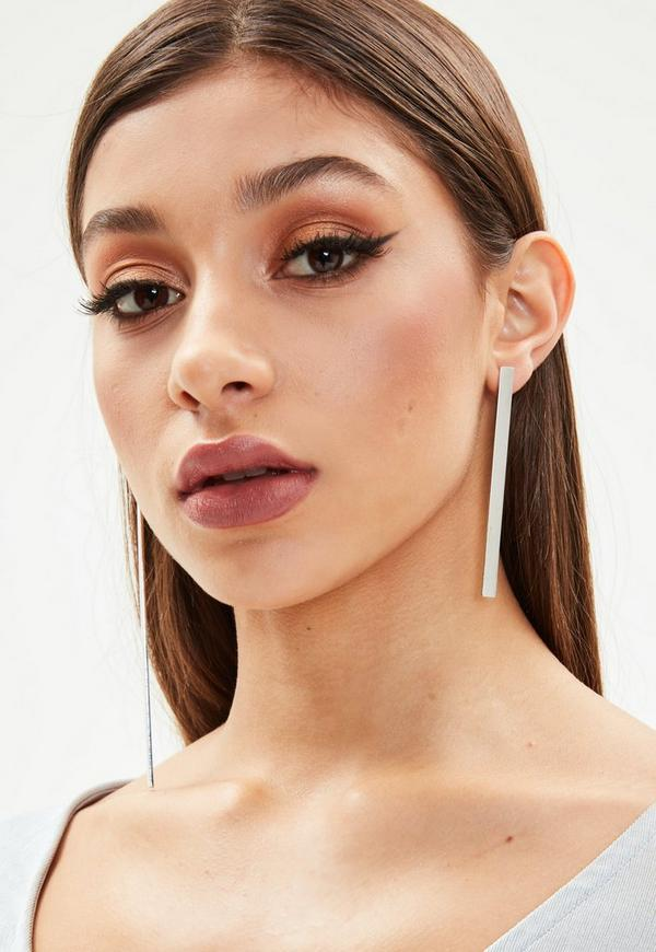 Silver Asymmetric Bar Earrings by Missguided