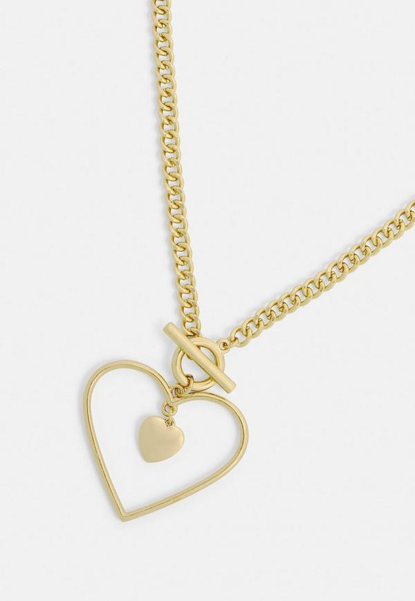 Gold open heart pendant necklace missguided previous next aloadofball Gallery