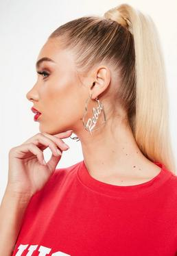 Silver Heart Shaped Hoop Earrings