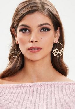 Gold Hoop Message Earrings
