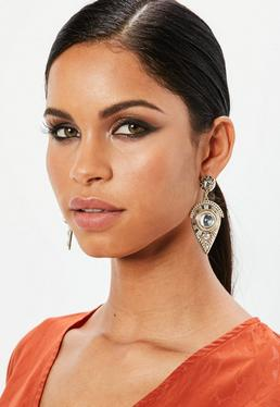 Gold Detailed Dropped Earrings