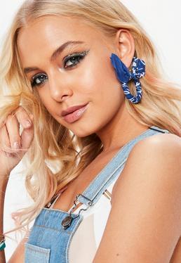 Blue Bandanna Hoop Earrings