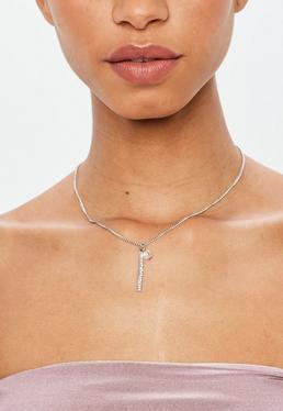 Silver Chain Diamante Pendant Necklace