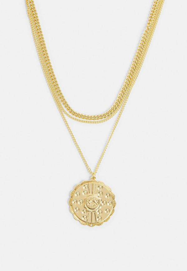 Gold pendant circle necklace missguided ireland previous next aloadofball Image collections