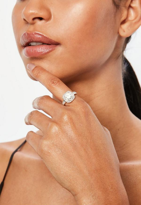 Silver Square Diamante Detail Ring by Missguided