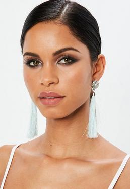 Pink Diamante Tassel Earrings