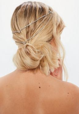 Silver Diamante Hair Chain