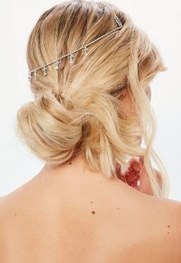 Silver Diamante Droplet Hair Chain