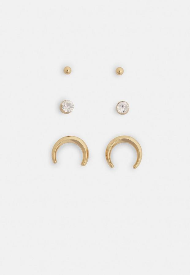Image of 3 gold look and crystal stud earrings pack, Neutral