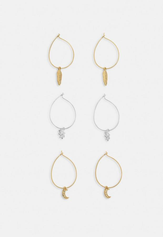 Image of 3 pack mixed metal charm hoops, Neutral