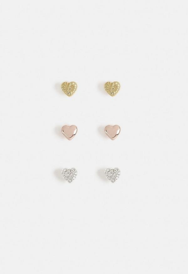 Heart Stud Earrings Multipack by Missguided