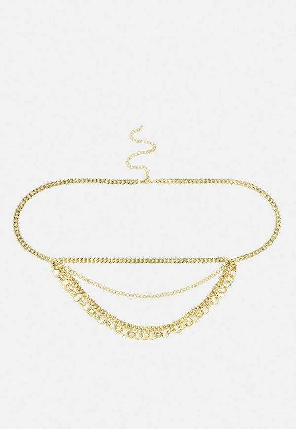 Gold Look Chain Drop Belly Chain by Missguided