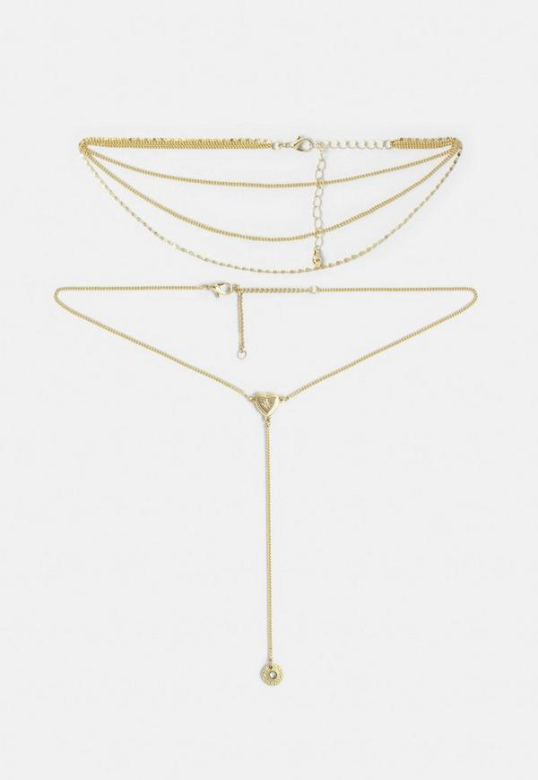 Gold Look Heart Layering Neckalace by Missguided