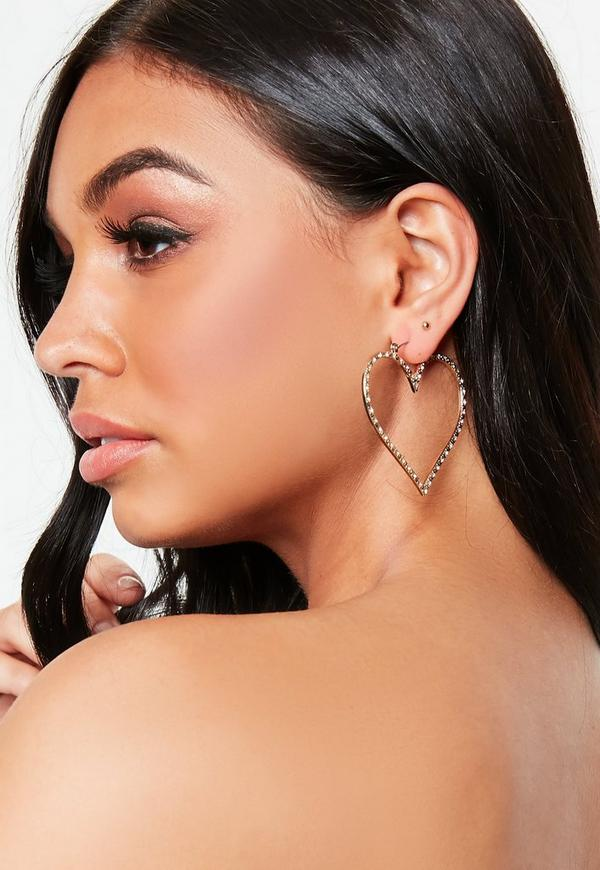 Gold Look Diamante Heart Earrings by Missguided