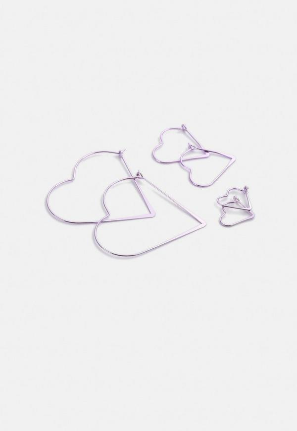 Pink Heart Hoop Earrings Multipack by Missguided