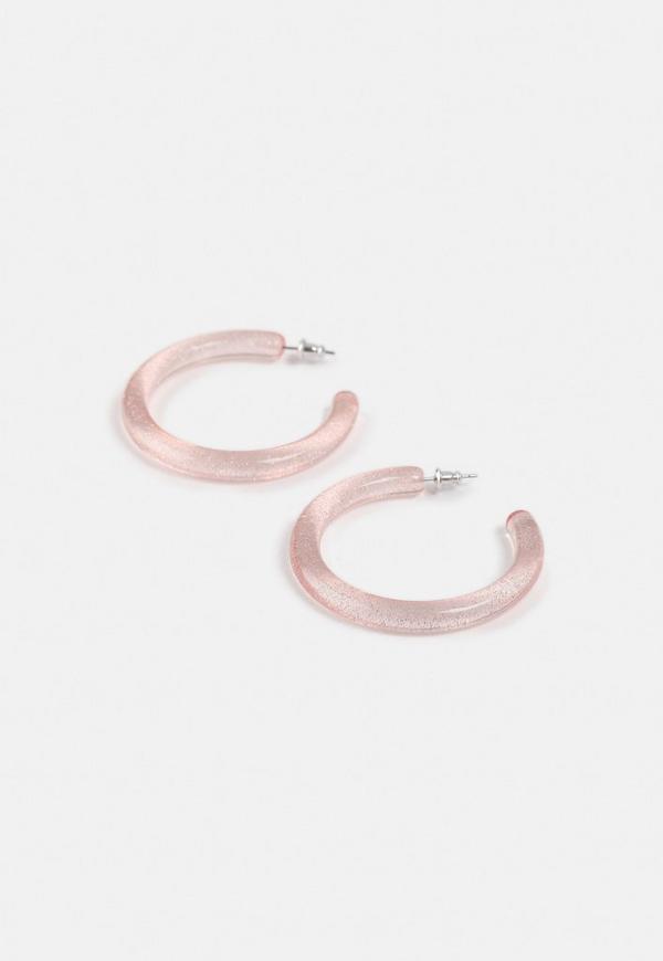 Pink Glitter Tube Hoop Earrings by Missguided