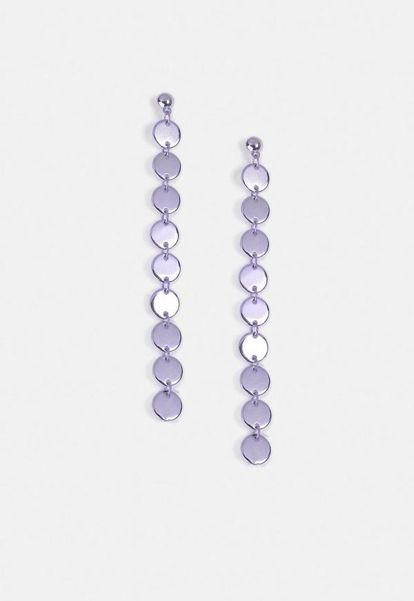 Lilac Long Circle Drop Earrings