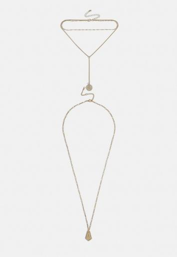 Gold Look Coin Pendant Necklace by Missguided