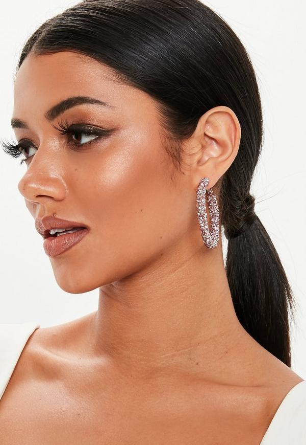 Pink Chunky Crystal Hoop Earrings by Missguided