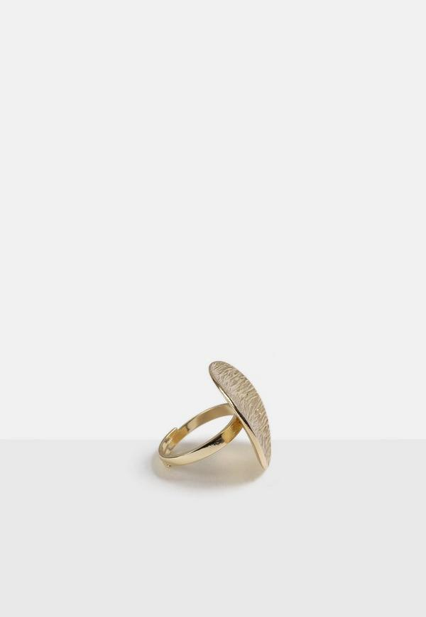 Gold Look Textured Ring by Missguided