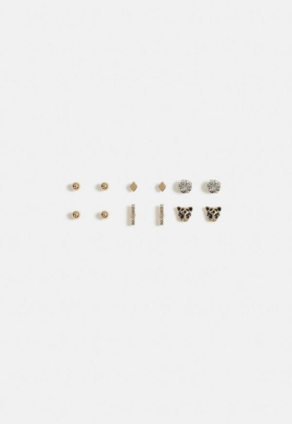 Gold Look Leopard Stud Earrings Multi Pack by Missguided