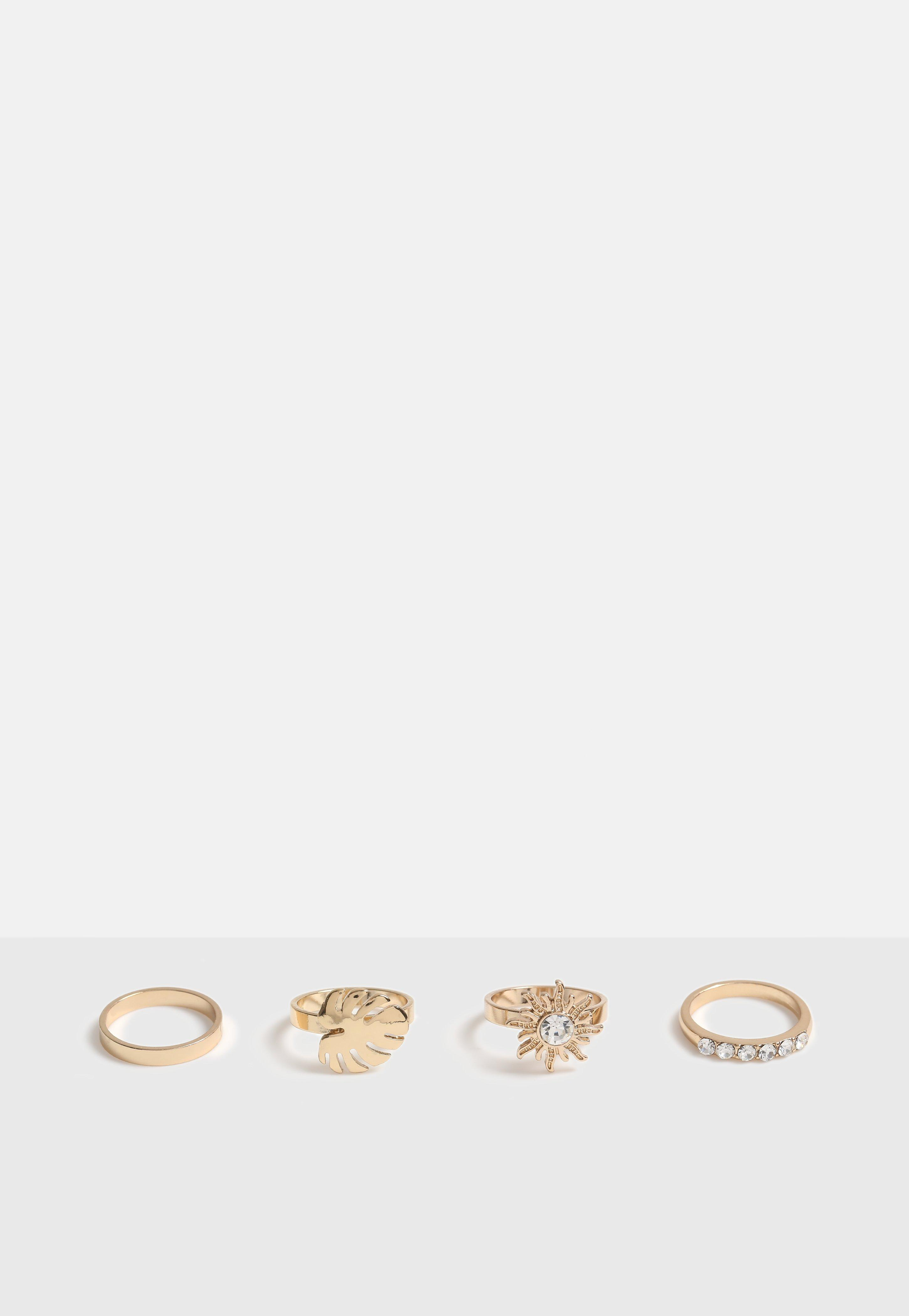Gold Look Palm Leaf And Sun Ring Multi Pack