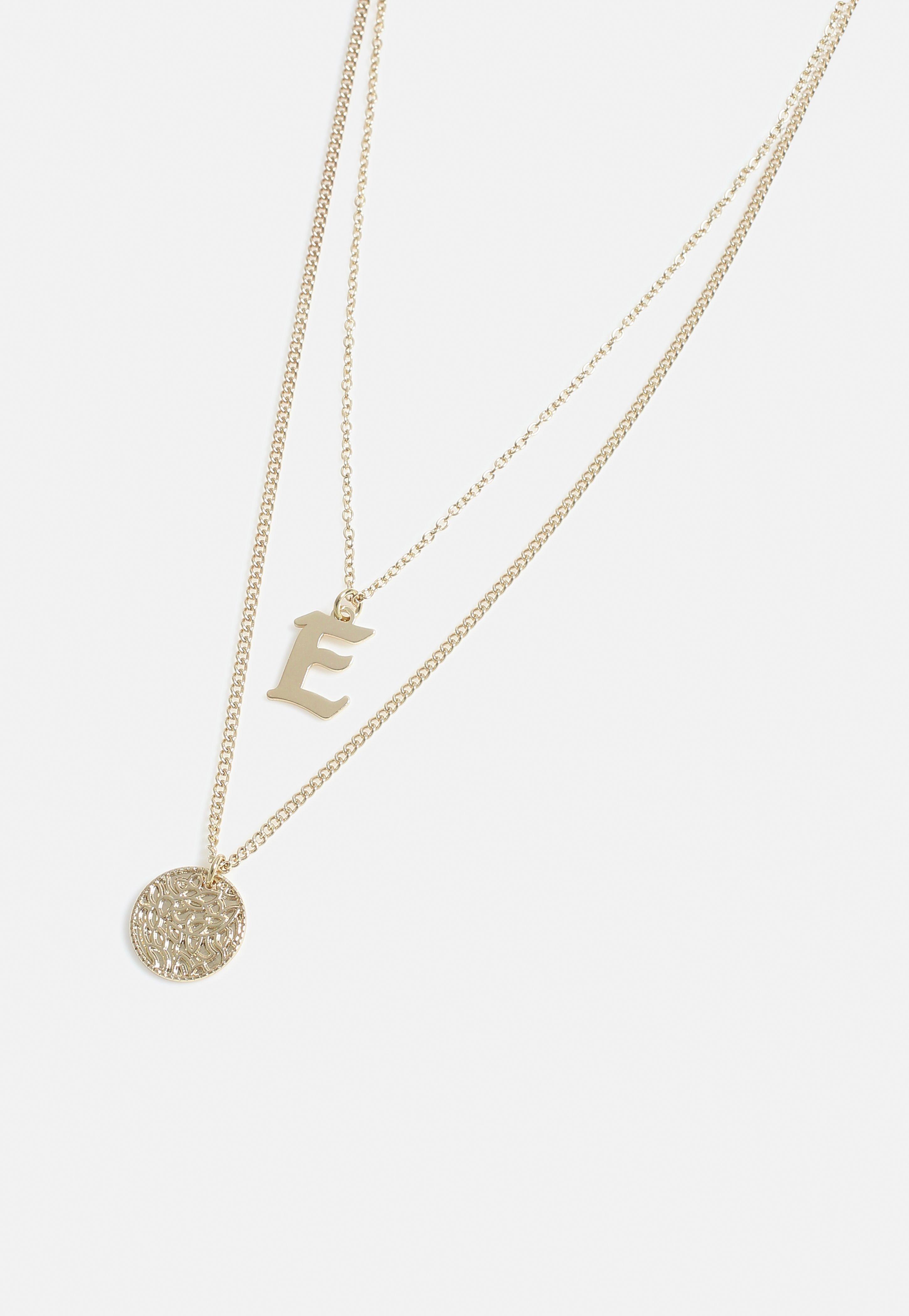 e4ce7563daafd Gold Look Coin E Charm Detail Multirow Necklace