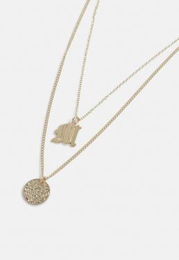 Ожерелье Gold Look Coin с подвеской в виде буквы M