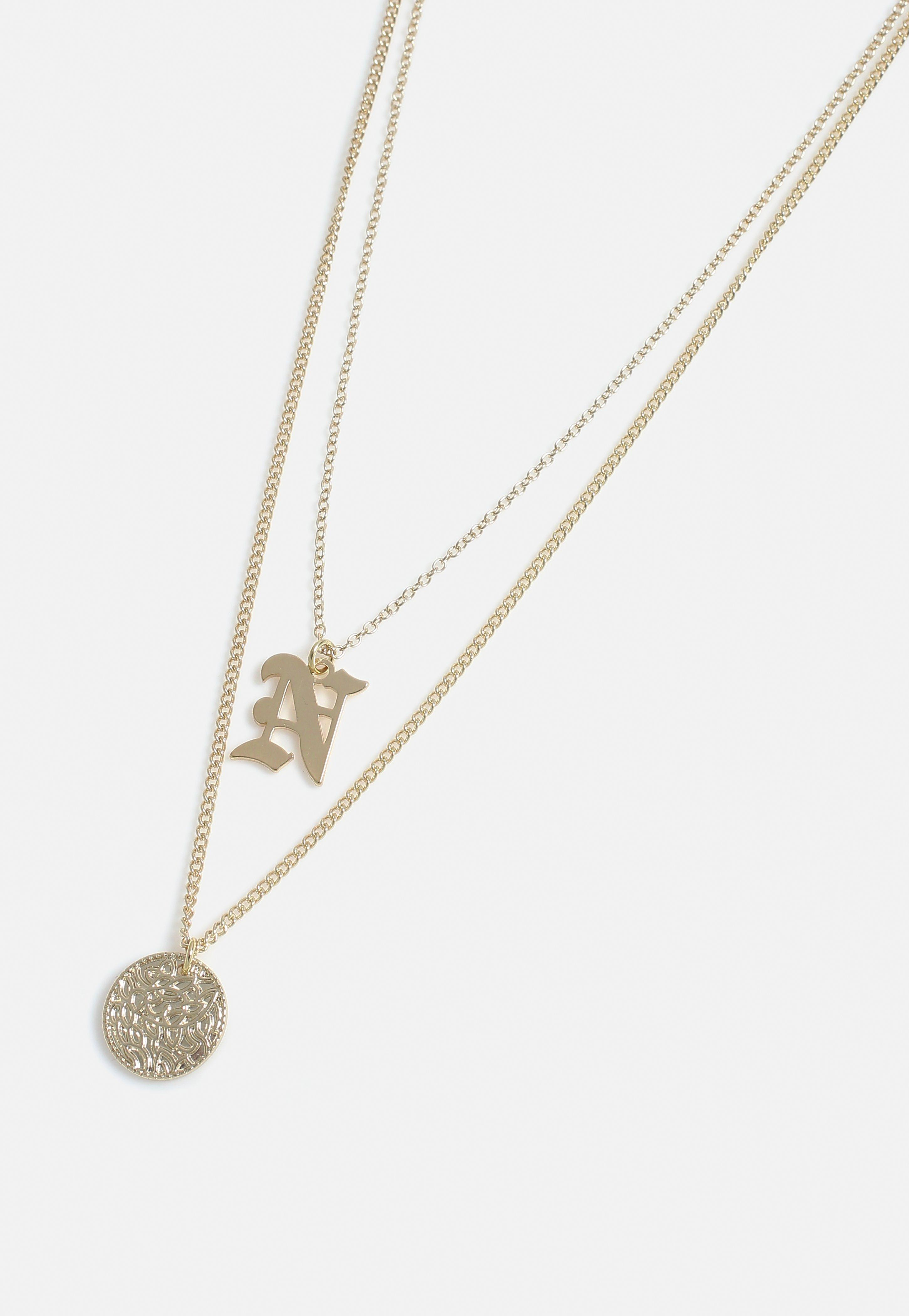 c0e936e7a577f Gold Look Coin N Charm Detail Multirow Necklace