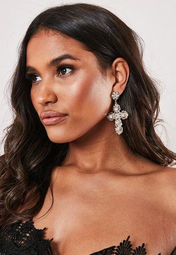 Gold Look Baroque Cross Earrings by Missguided