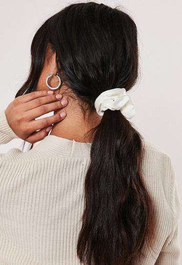 Cream Satin Scrunchie by Missguided