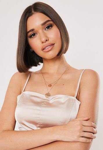 Gold Look Egyptian Coin Necklace by Missguided