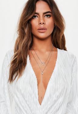 Серебряное ожерелье с бриллиантами