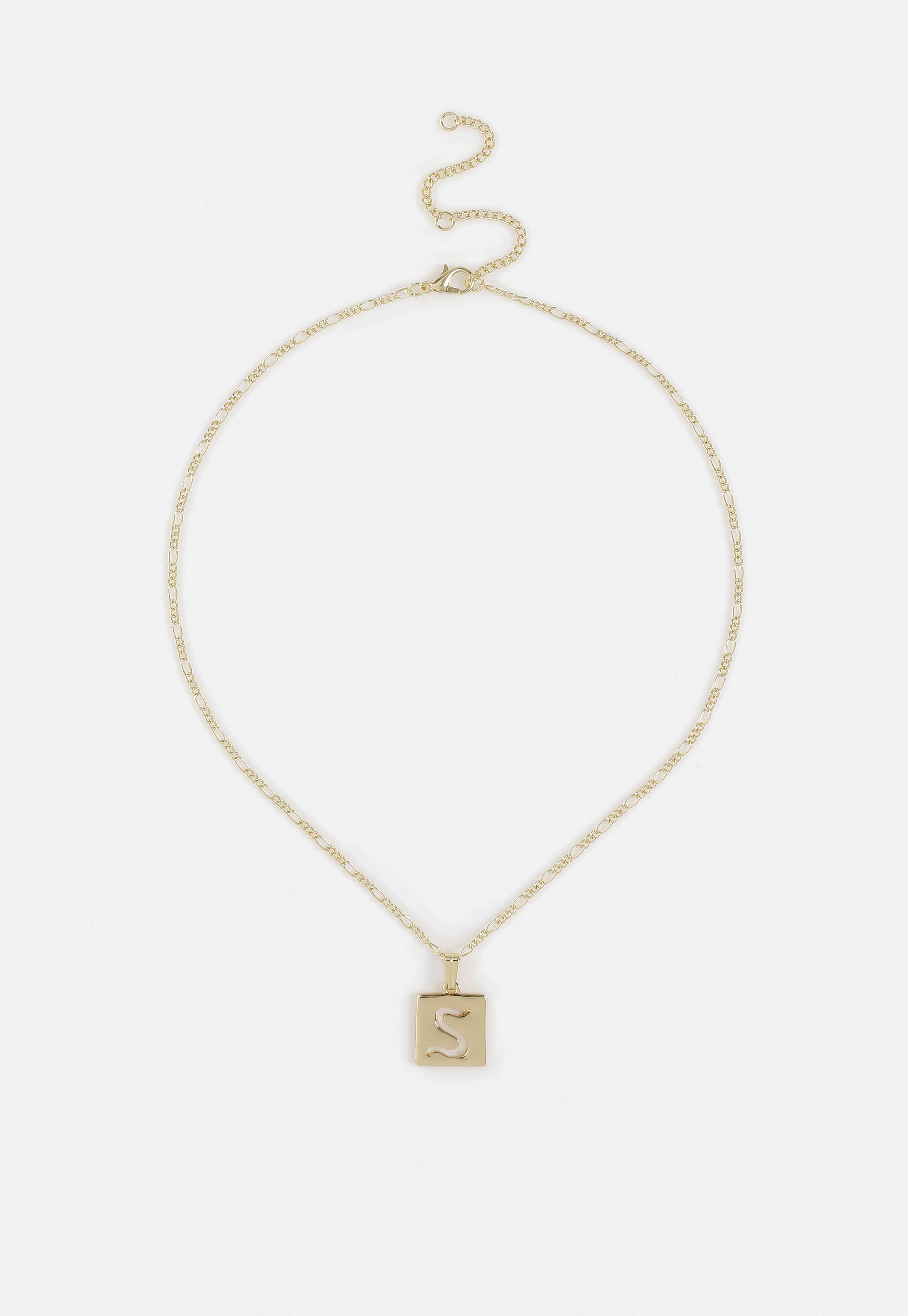 Gold Look E Initial Ditsy Necklace