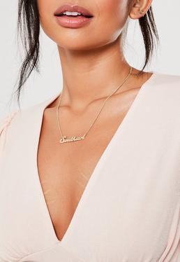 Ожерелье с подвеской в виде золотого оттенка
