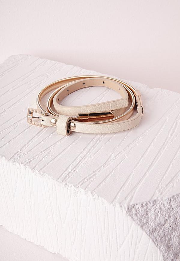 Chain Pu Skinny Belt Nude