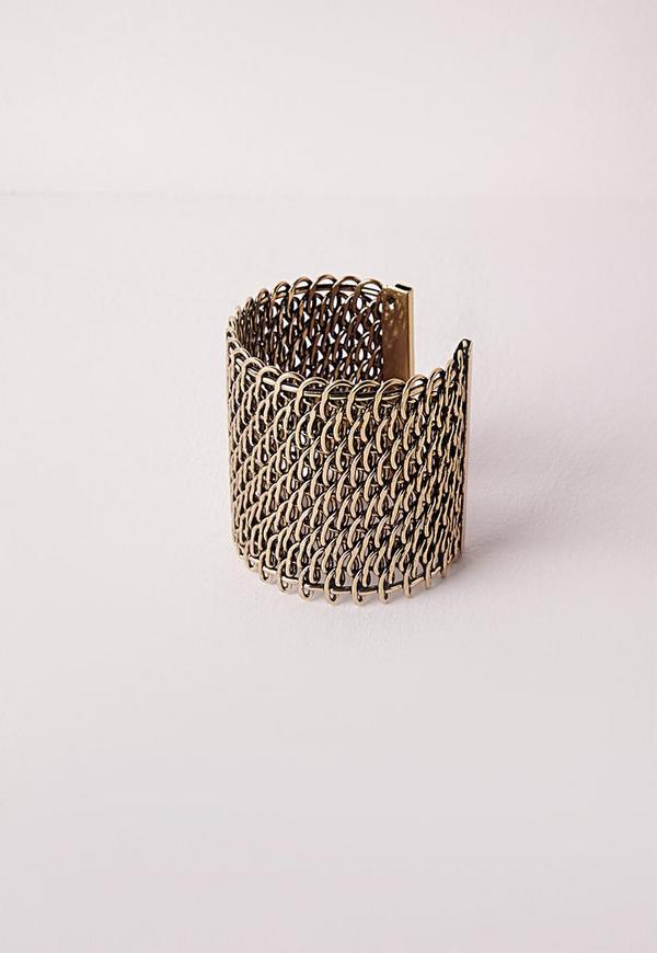 Chain Bracelet Cuff Gold