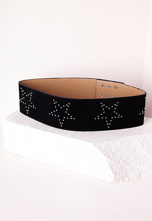Star Studded Wide Belt Black