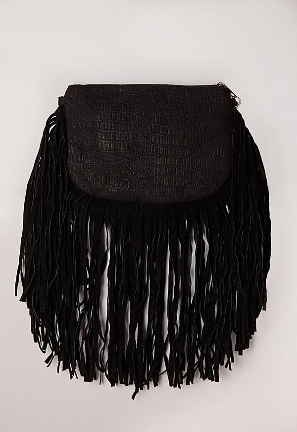 Curved Fringe Clutch Bag Black