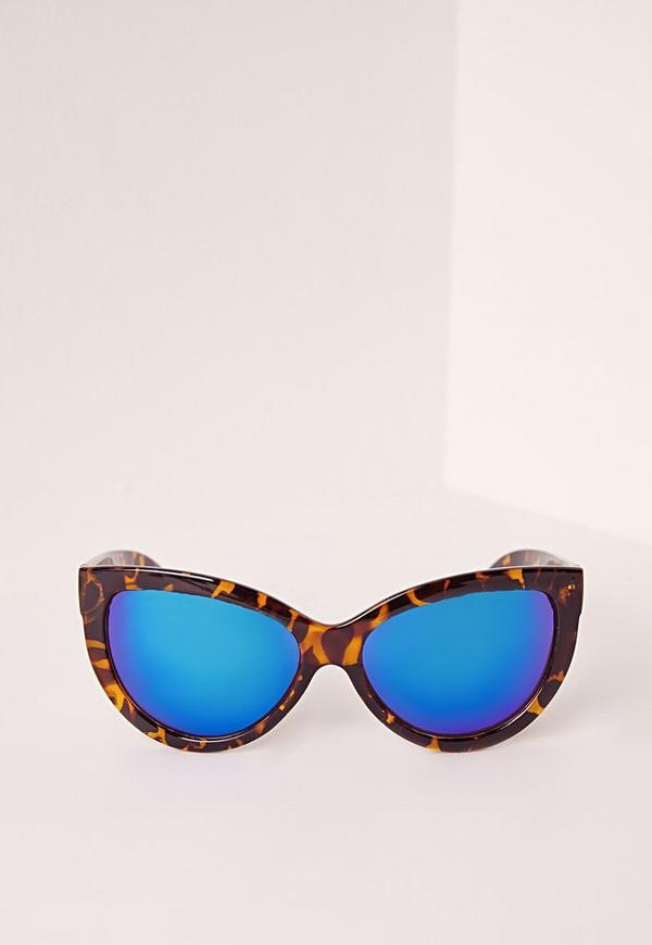 Tortoise Shell Cat Eye Sunglasses Blue