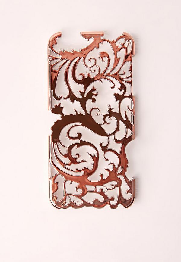floral metallic iphone rose gold 6 case missguided. Black Bedroom Furniture Sets. Home Design Ideas