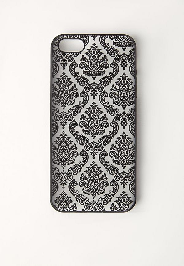 Floral Flock Print iPhone 6 Case Black