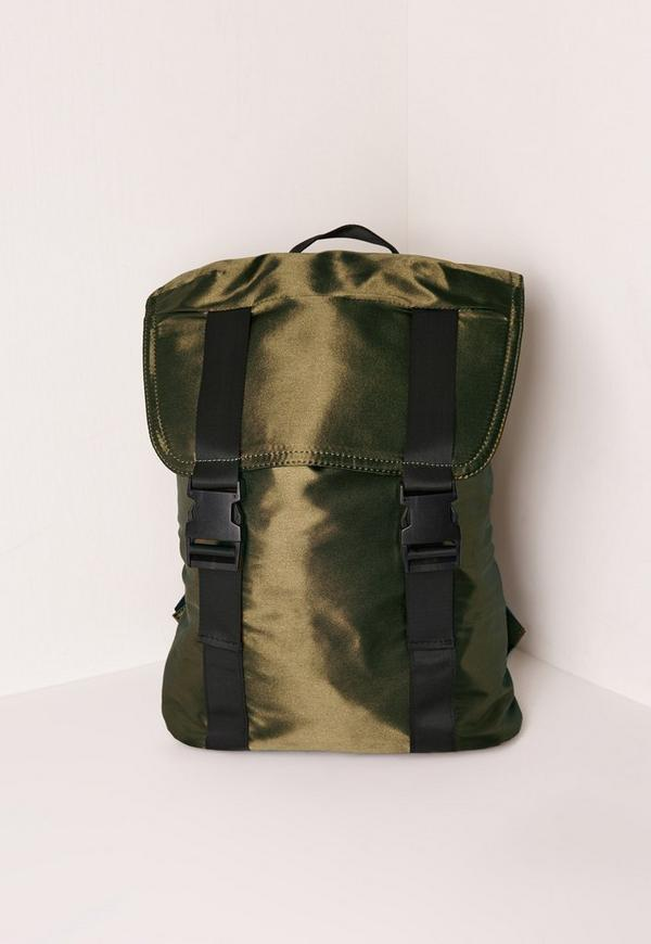 Satin Buckle Detail Backpack Green