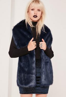 Oversized Faux Fur Scarf Navy